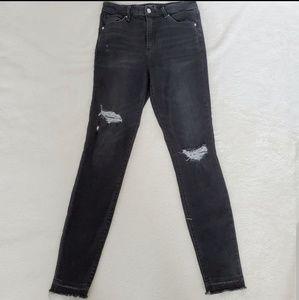 A&F Black Distressed Raw Hem Skinny Jeans Size 4